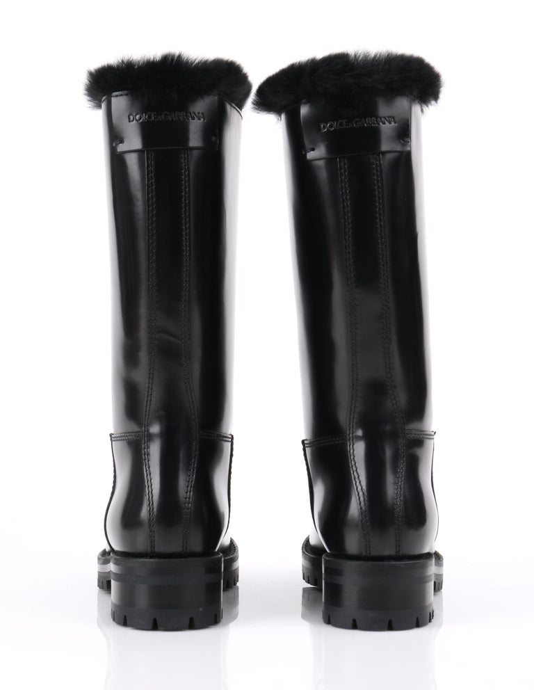 DOLCE & GABBANA Black Leather Lapin Fur Lined Calf High Moto Cold Weather Boots For Sale 4
