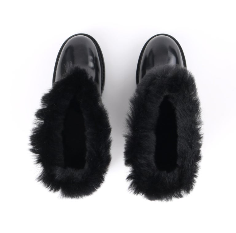 DOLCE & GABBANA Black Leather Lapin Fur Lined Calf High Moto Cold Weather Boots For Sale 5