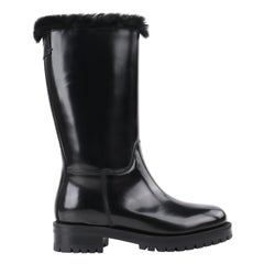 DOLCE & GABBANA Black Leather Lapin Fur Lined Calf High Moto Cold Weather Boots