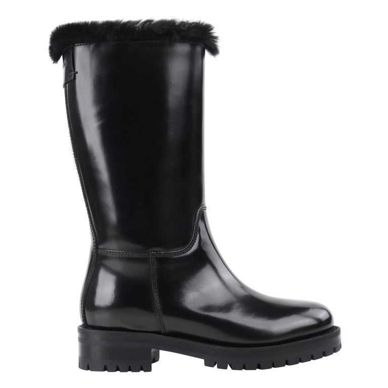 DOLCE & GABBANA Black Leather Lapin Fur Lined Calf High Moto Cold Weather Boots For Sale