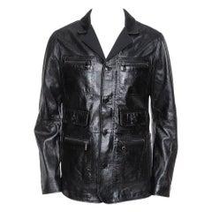 Dolce & Gabbana Black Leather Long Jacket XL