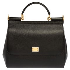 Dolce & Gabbana Black Leather Medium Miss Sicily Bag