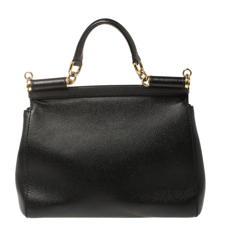 Dolce & Gabbana Black Leather Medium Miss Sicily Top Handle Bag In Good Condition For Sale In Dubai, Al Qouz 2