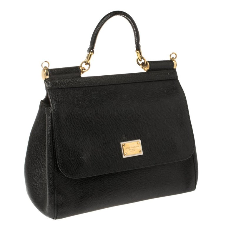 Women's Dolce & Gabbana Black Leather Medium Miss Sicily Top Handle Bag For Sale