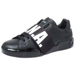 Dolce & Gabbana Black Leather Portofino Low Top Sneakers Size 45