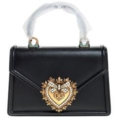 Dolce & Gabbana Black Leather Small Devotion Top Handle Bag