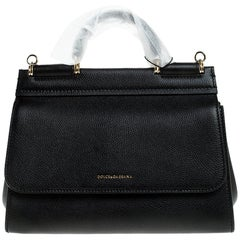 Dolce & Gabbana Black Leather Soft Miss Sicily Top Handle Bag