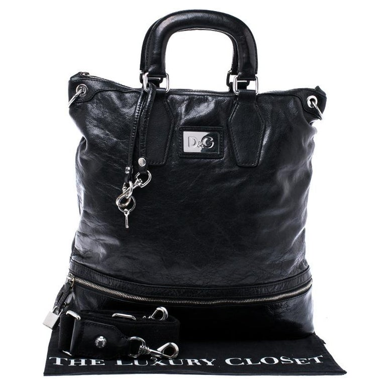 Dolce & Gabbana Black Leather Tote For Sale 7