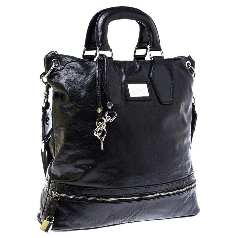 Women's Dolce & Gabbana Black Leather Tote For Sale