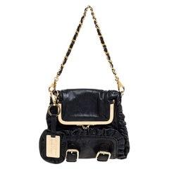 Dolce & Gabbana Black Leather XX Anniversary Ruffle Chain Clutch
