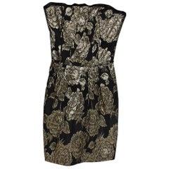 Dolce & Gabbana Black Lurex Floral Jacquard Strapless Mini Dress S