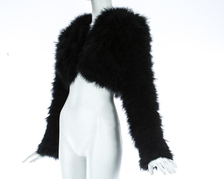 Dolce & Gabbana black marabou bolero jacket, A/W 1999 In Good Condition For Sale In London, GB