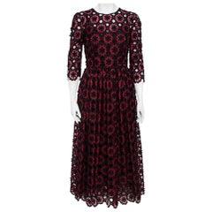 Dolce & Gabbana Black & Maroon Floral Lace Applique Midi Dress M