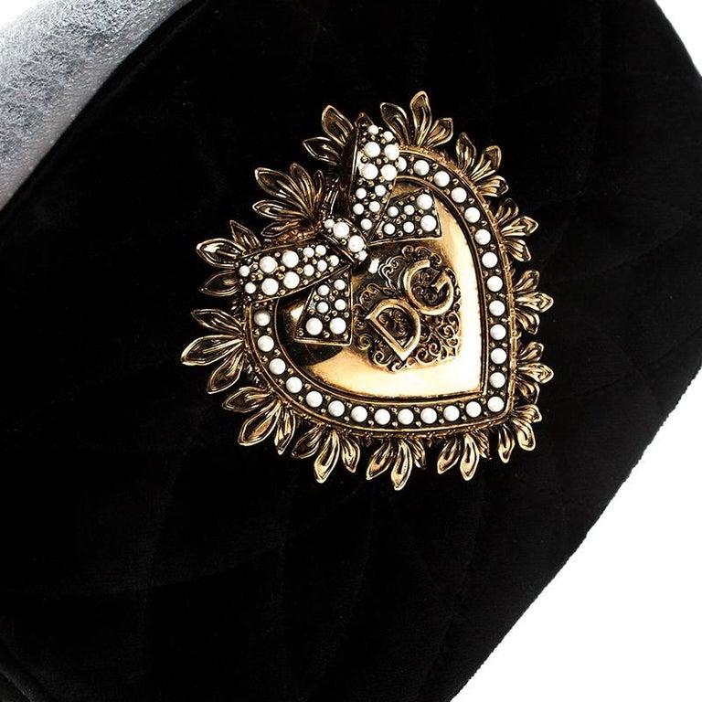 Dolce & Gabbana Black Matelasse Velvet Devotion Camera Crossbody Bag For Sale 6
