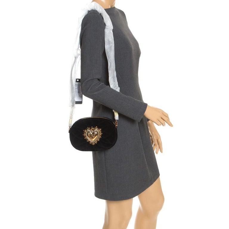 Dolce & Gabbana Black Matelasse Velvet Devotion Camera Crossbody Bag In New Condition For Sale In Dubai, Al Qouz 2