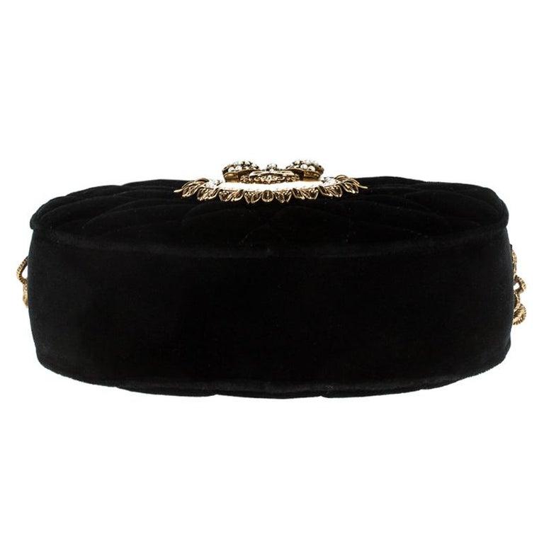 Dolce & Gabbana Black Matelasse Velvet Devotion Camera Crossbody Bag For Sale 1