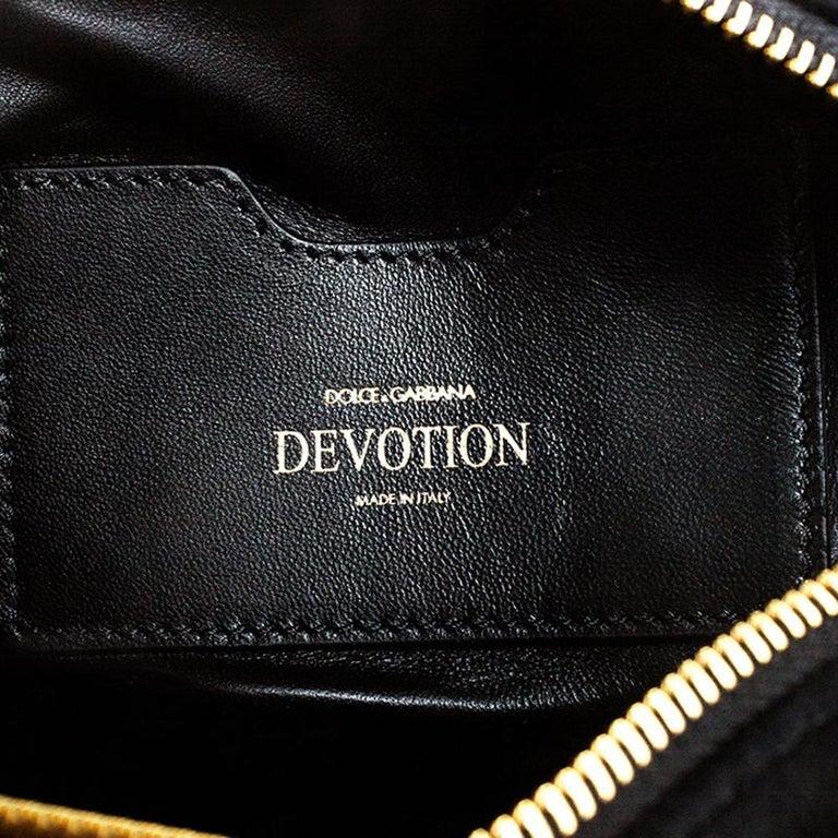 Dolce & Gabbana Black Matelasse Velvet Devotion Camera Crossbody Bag For Sale 4