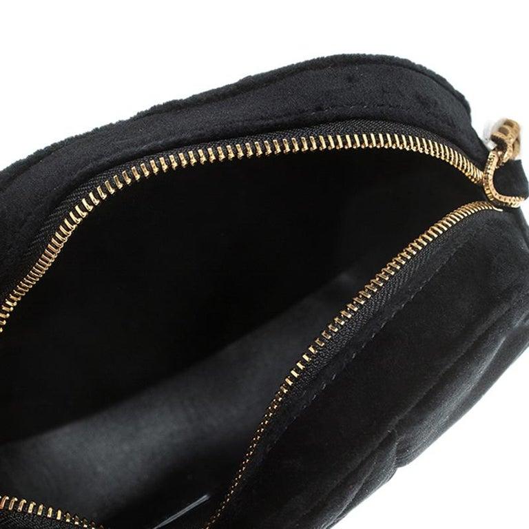 Dolce & Gabbana Black Matelasse Velvet Devotion Camera Crossbody Bag For Sale 5