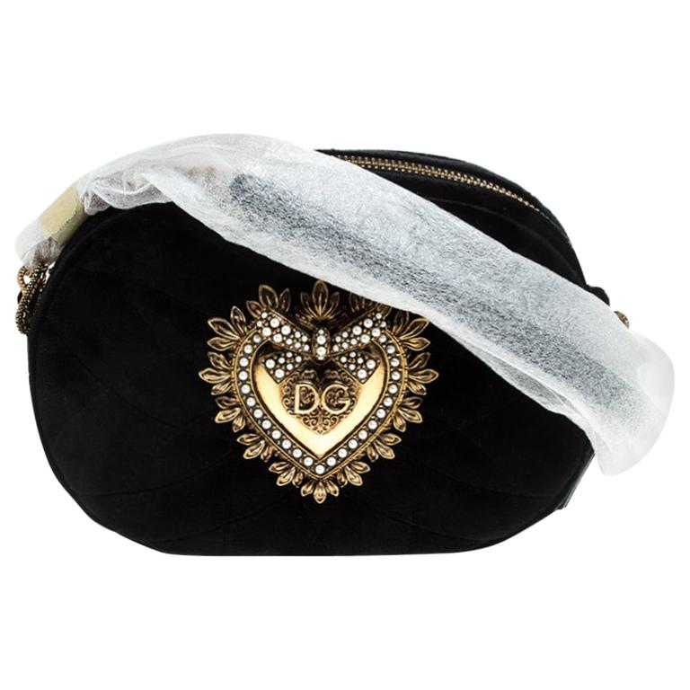 Dolce & Gabbana Black Matelasse Velvet Devotion Camera Crossbody Bag For Sale