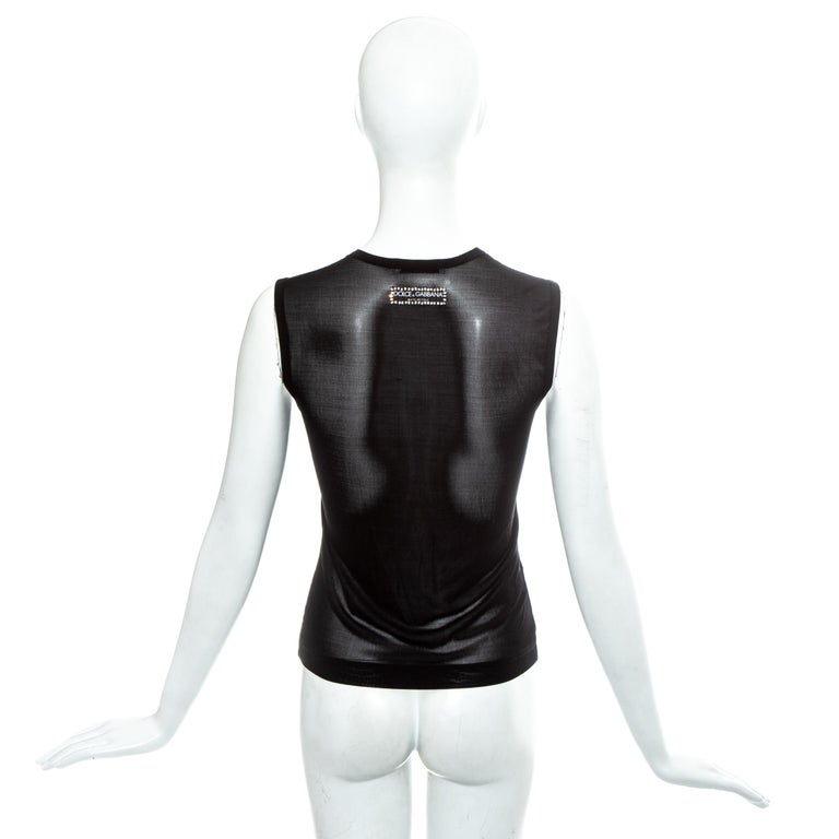 Dolce & Gabbana black mesh and rhinestone Madonna 'LIKE A VIRGIN' vest, ss 2001 For Sale 3