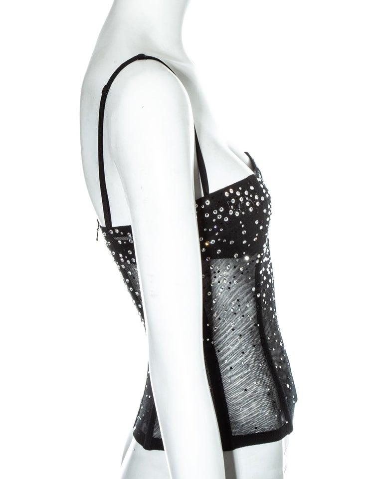 Women's Dolce & Gabbana black mesh gem corset, ss 2000 For Sale