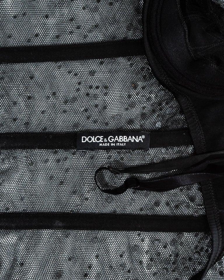 Dolce & Gabbana black mesh gem corset, ss 2000 For Sale 2