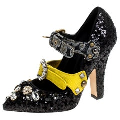 Dolce & Gabbana Black Mixed Media Crystal Embellished Mary Jane Pumps Size 36