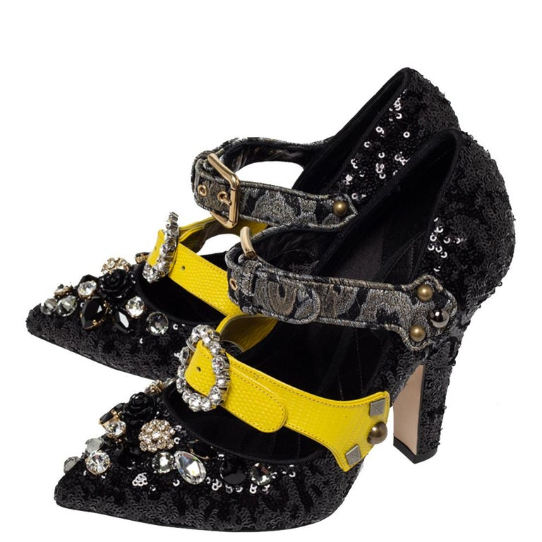 Dolce & Gabbana Black Mixed Media Crystal Embellished Mary Jane Pumps Size 39 For Sale 1