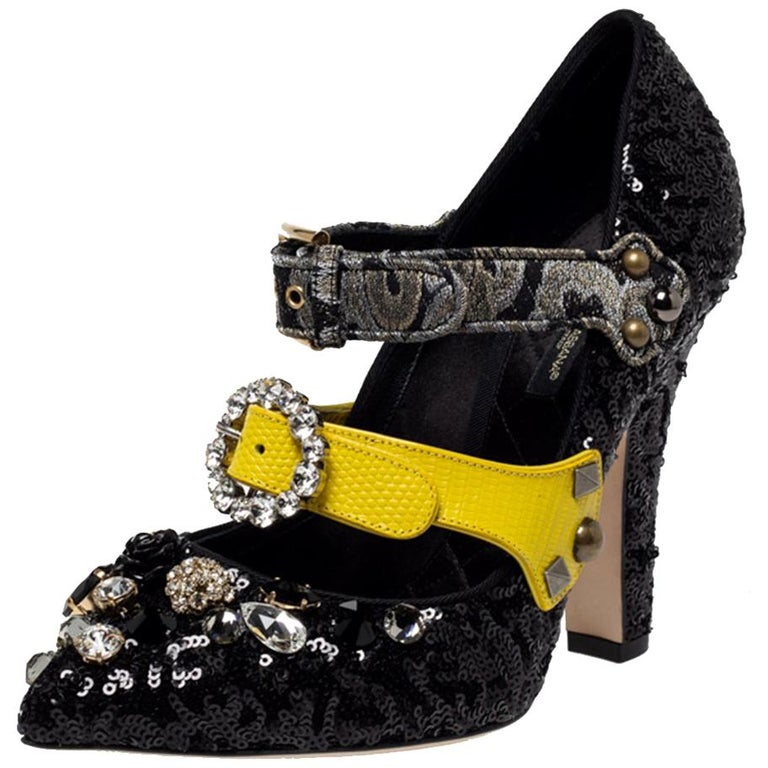 Dolce & Gabbana Black Mixed Media Crystal Embellished Mary Jane Pumps Size 39 For Sale
