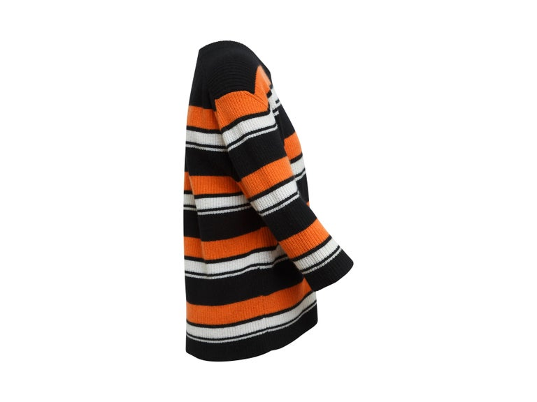 Dolce & Gabbana Black & Multicolor Cashmere Striped Top In Excellent Condition For Sale In New York, NY