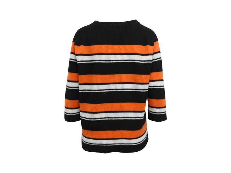 Women's Dolce & Gabbana Black & Multicolor Cashmere Striped Top For Sale