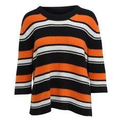Dolce & Gabbana Black & Multicolor Cashmere Striped Top