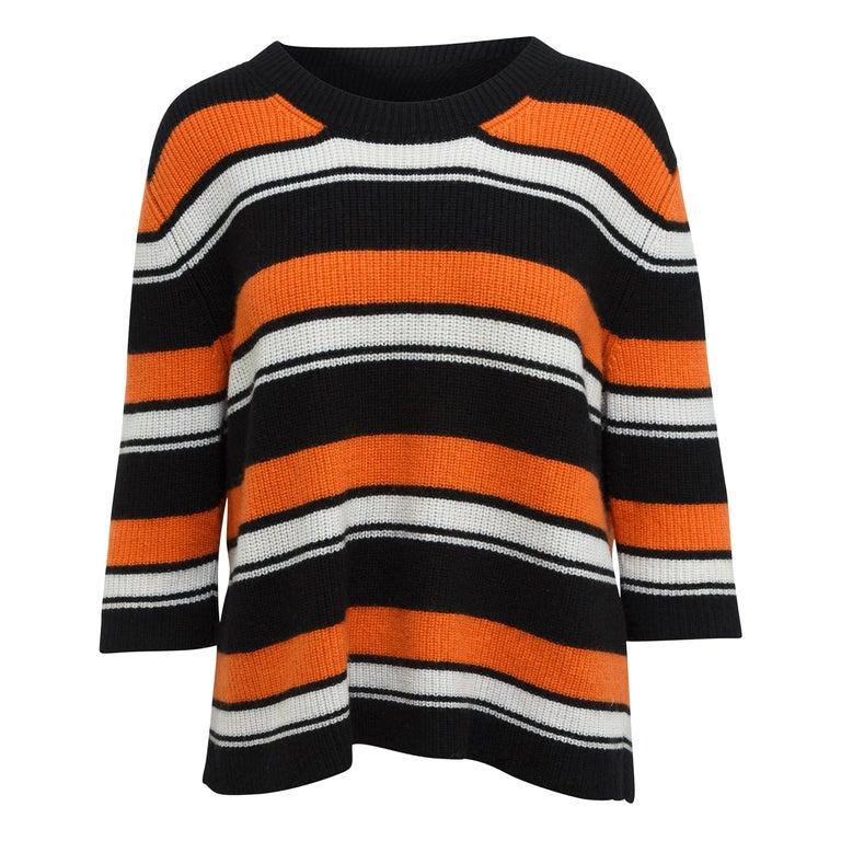 Dolce & Gabbana Black & Multicolor Cashmere Striped Top For Sale