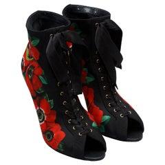 Dolce & Gabbana Black & Multicolor Floral Print Booties