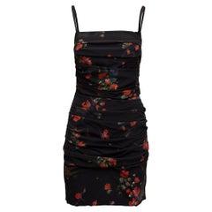 Dolce & Gabbana Black & Multicolor Floral Print Mini Dress