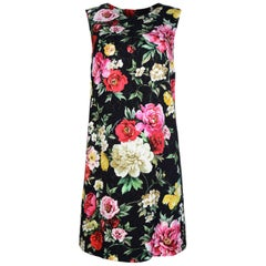 Dolce & Gabbana Black/Multicolor Floral Printed Shift Dress sz 42 rt $1,495
