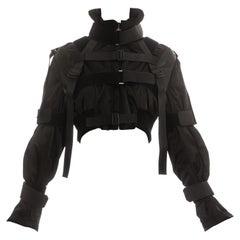 Dolce & Gabbana black nylon cropped parachute bondage jacket, fw 2003