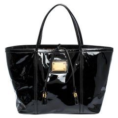 Dolce & Gabbana Black Patent Leather Miss Escape Tote