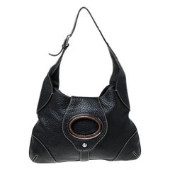 Dolce & Gabbana Black Pebbled Leather Ring Shoulder Bag