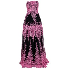 Dolce & Gabbana Black & Pink Guipure Lace Strapless Evening Gown IT 44