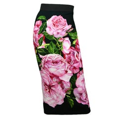 Dolce & Gabbana Black Pink Rose Floral Print Pencil Skirt sz IT\36