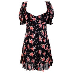 Dolce & Gabbana Black Pink Silk Floral Flared Causal Dress