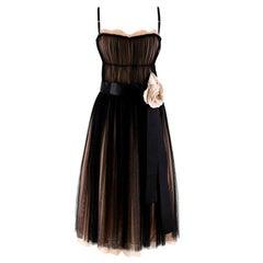 Dolce & Gabbana Black & Pink Tulle Dress M