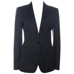 Dolce & Gabbana Black Pinstripe Cotton Single Buttoned Blazer M