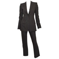 Dolce & Gabbana Black Pinstriped Jacket and Pants Suit Set