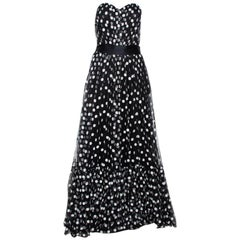 Dolce & Gabbana Black Polka Dot Embroidered Tulle Strapless Gown L