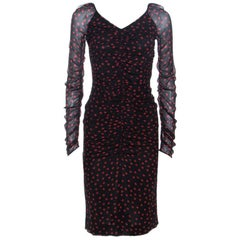 Dolce & Gabbana Black Polka Dot Print Stretch Silk Ruched Dress S