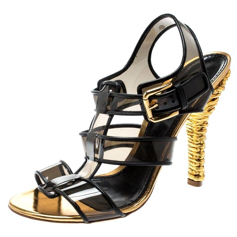 eefc5dea4eb Dolce & Gabbana Black PVC And Leather Strappy Woven Detail Heel Sandals  Size 41