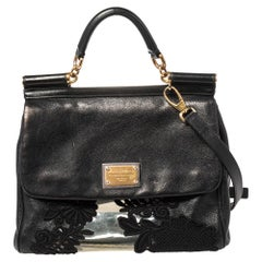 Dolce & Gabbana Black PVC, Lace And Leather Large Miss Sicily Top Handle Bag