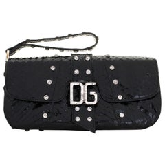 Dolce & Gabbana Black Python Wristlet W/ Crystal Studs & Crystal DG at Front